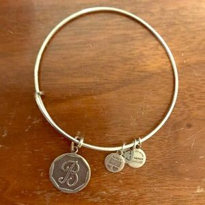 "Alex and Ani silver ""B"" bangle."